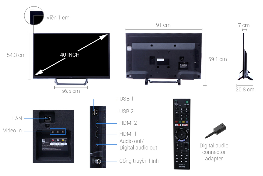 Kích thước tivi 40 inch của Sony1