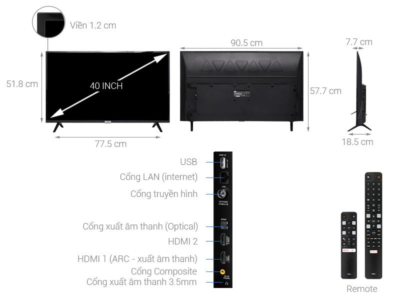 Kích thước tivi 40 inch của TCL