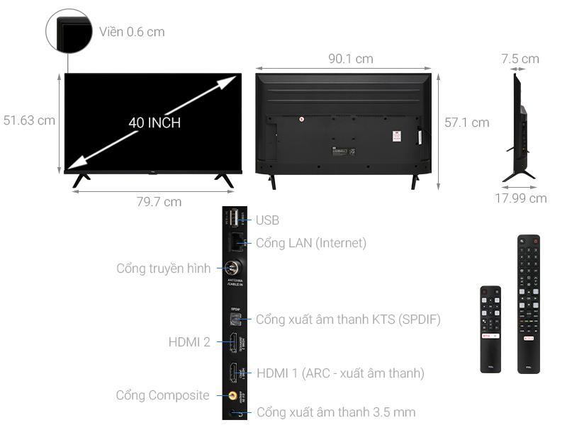 Kích thước tivi 40 inch của TCL1