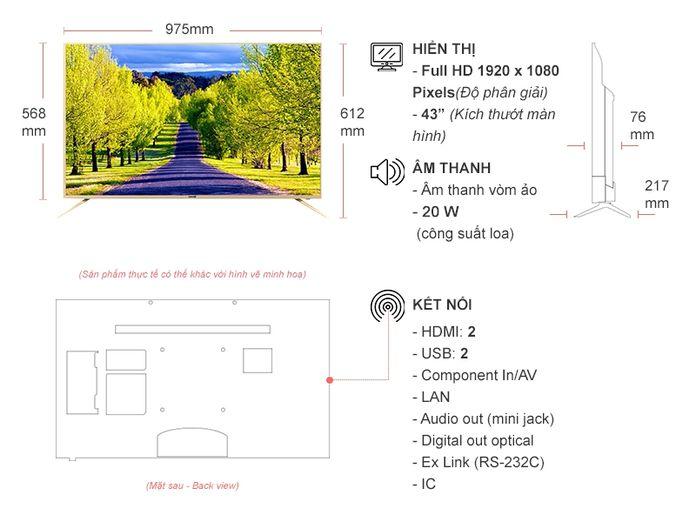Kích thước tivi 43 inch Samsung, Sony, LG, Asanzo chính xác 100%