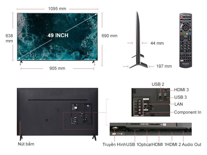 Kích thước tivi 49 inch của LG, Samsung, Sony chuẩn 100%