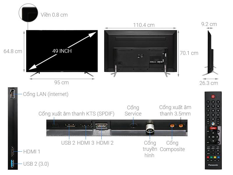 Kích thước tivi 49 inch Panasonic1