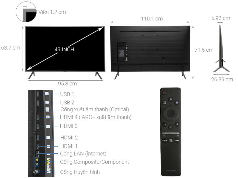 Kích thước tivi 49 inch Samsung