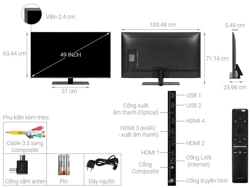 Kích thước tivi 49 inch Samsung2