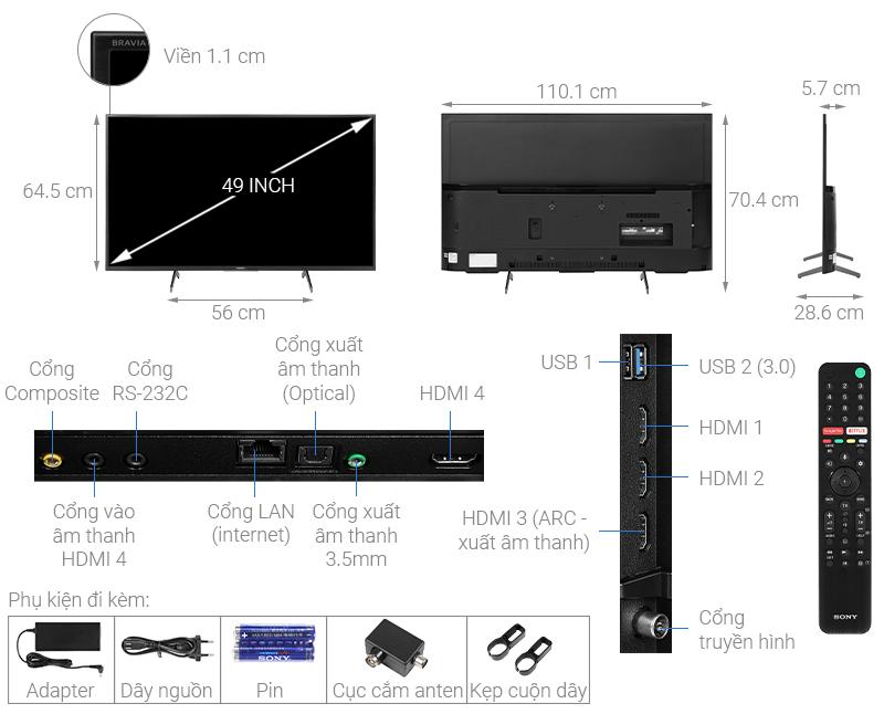 Kích thước tivi 49 inch Sony1