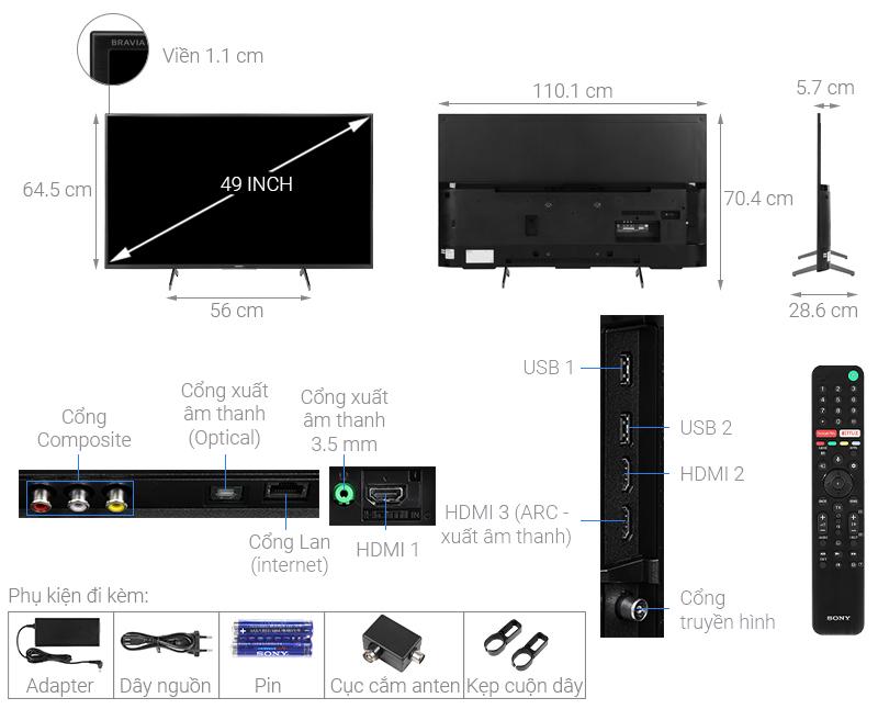 Kích thước tivi 49 inch Sony12