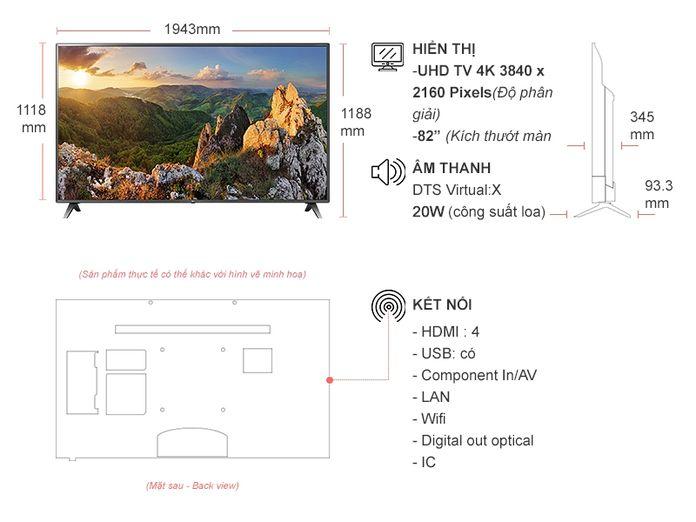 Kích thước tivi 82 inch của LG