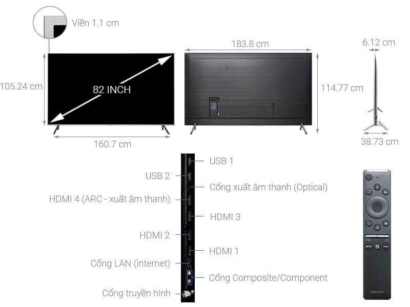 Kích thước tivi 82 inch của Samsung