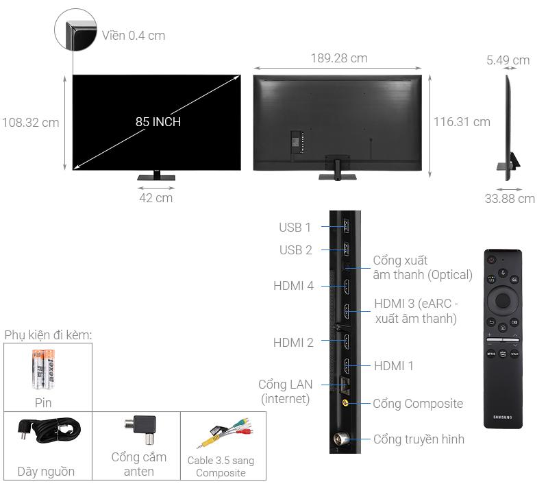 Kích thước tivi 85 inch Samsung