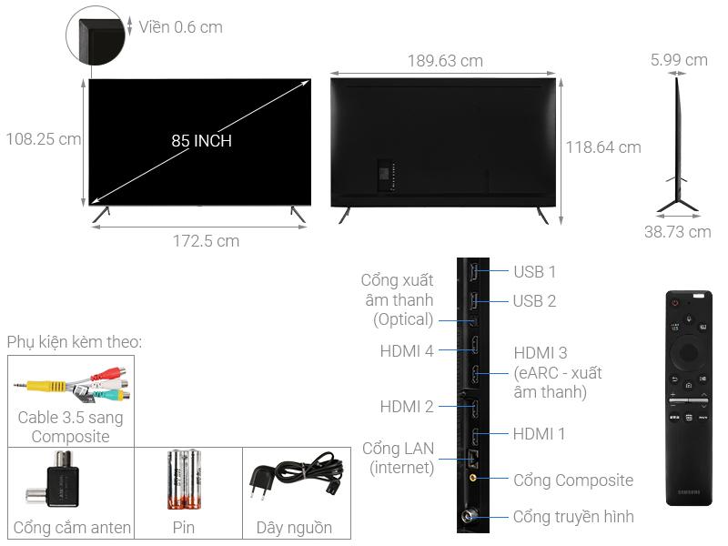 Kích thước tivi 85 inch Samsung1