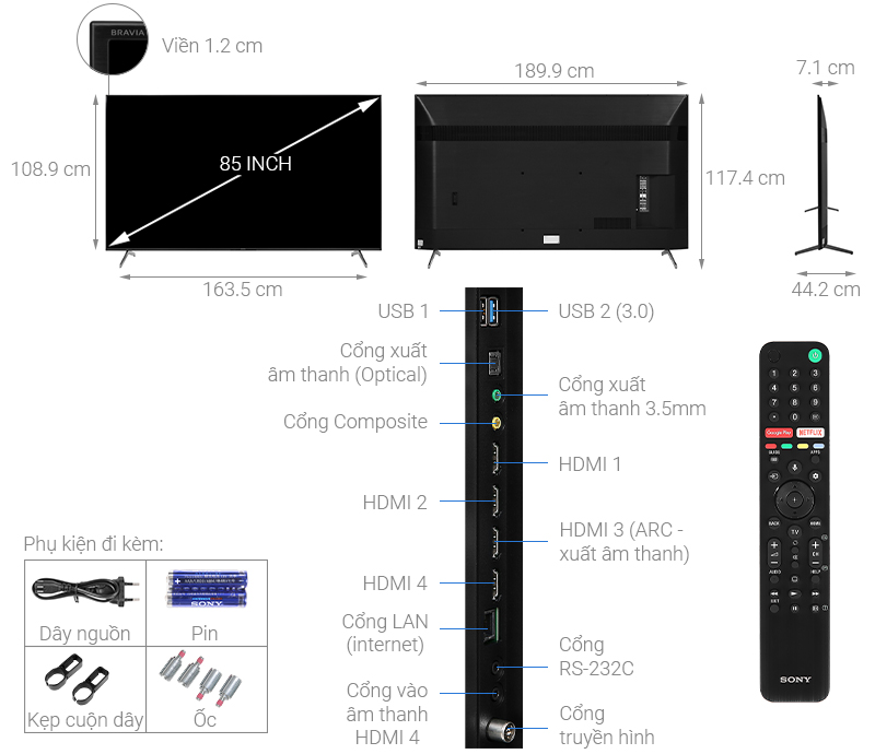 Kích thước tivi 85 inch Sony