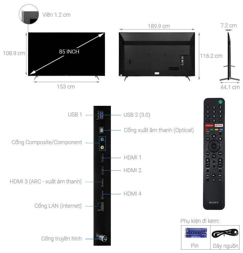 Kích thước tivi 85 inch Sony1