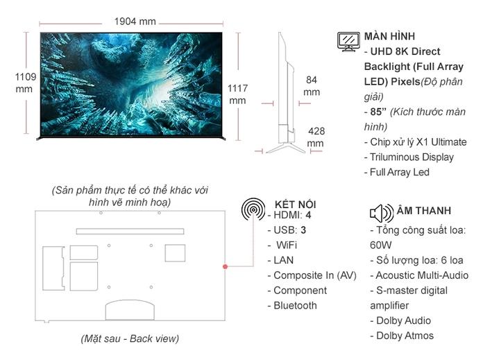 Kích thước tivi 85 inch của Samsung, Sony, LG chính xác 100%