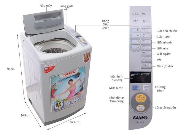 cách vắt quần áo bằng máy giặt aqua