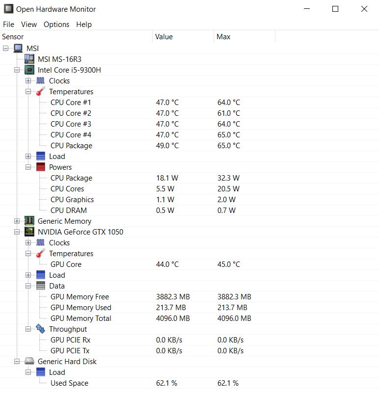Cách kiểm tra nhiệt độ CPU bằng Open Hardware Monitor