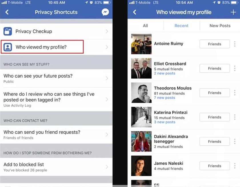 Cách kiểm tra xem ai vào tường Facebook của mình nhiều nhất trên điện thoại Iphone1