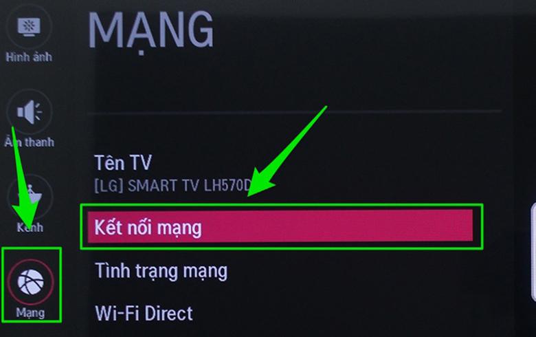 cách kết nối wifi cho tivi LG thường