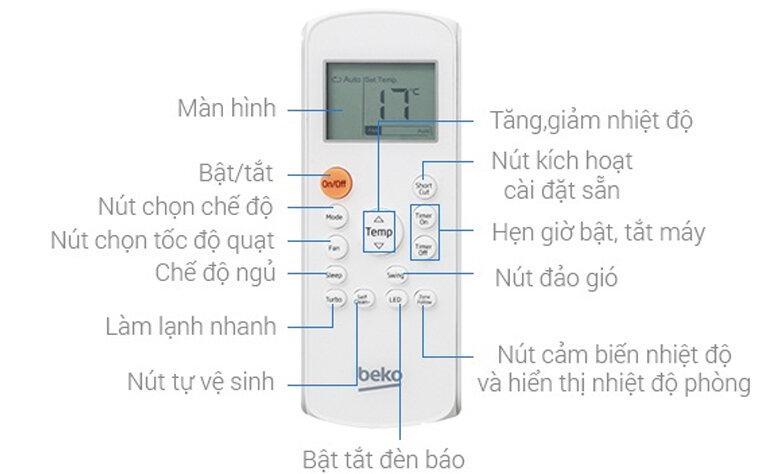 cách sử dụng điều khiển điều hòa beko